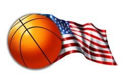Illustrazione americana della bandierina di pallacanestro Immagine Stock Libera da Diritti