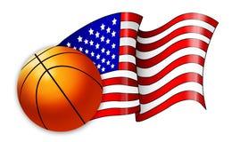 Illustrazione americana della bandierina di pallacanestro Fotografia Stock Libera da Diritti