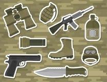 Illustrazione americana di vettore del segno del cammuffamento delle munizioni del combattente dell'arma delle pistole delle forz illustrazione vettoriale