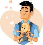 Illustrazione amorosa di Holding Baby Vector del padre illustrazione di stock