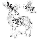 Illustrazione animale dei cervi con una corona sulla suoi testa e testo Principe Deer Fotografie Stock Libere da Diritti