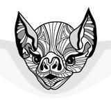 Illustrazione animale di vettore capo del pipistrello per la maglietta Immagini Stock