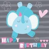 Illustrazione animale di vettore dell'elefante di buon compleanno Immagini Stock Libere da Diritti