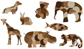 Illustrazione animale rattoppata di vettore delle bambole Immagine Stock