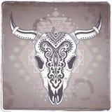 Illustrazione animale tribale del cranio con etnico Immagine Stock