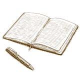 Illustrazione antica dell'incisione del taccuino e della penna Fotografia Stock