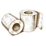 Illustrazione antica dell'incisione della carta igienica Fotografia Stock Libera da Diritti