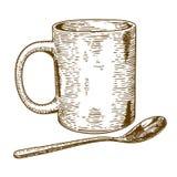Illustrazione antica dell'incisione della tazza e del cucchiaio Immagine Stock Libera da Diritti