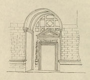 Illustrazione antica dell'ingresso   Fotografie Stock Libere da Diritti