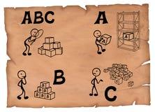 Illustrazione antiquata di un concetto di ABC Quattro punti che attingono una pergamena illustrazione di stock