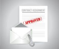 Illustrazione approvata di concetto di assegnazione del contratto Fotografia Stock
