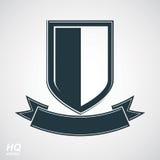 Illustrazione araldica di blasone, stemma decorativa Schermo grigio della difesa di vettore Fotografia Stock Libera da Diritti