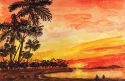 Illustrazione arancio dell'acquerello dell'oceano delle palme di tramonto illustrazione vettoriale