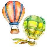 Illustrazione arancio e verde del trasporto aereo della mosca del fondo delle mongolfiere Immagine Stock Libera da Diritti
