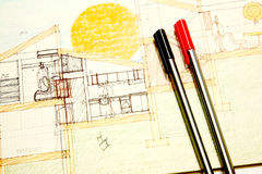 Illustrazione architettonica Fotografia Stock Libera da Diritti