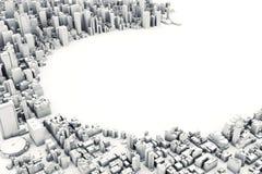 Illustrazione architettonica del modello 3D di grande città su un fondo bianco Immagine Stock Libera da Diritti