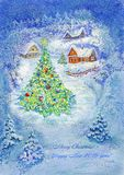 Illustrazione, arte, disegno, acquerello, notte, villaggio, case, inverno, albero di Natale, blu, fondo, nuovo anno, neve, illustrazione vettoriale
