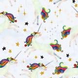 Illustrazione artistica della scuola materna Arte dell'unicorno dell'acquerello illustrazione vettoriale