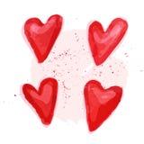 Illustrazione artistica di simbolo del cuore dell'acquerello di vettore Fotografie Stock Libere da Diritti