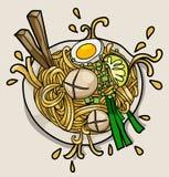 Illustrazione asiatica di vettore di concetto del manifesto del ristorante di ramen della tagliatella Fotografia Stock