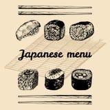 Illustrazione asiatica disegnata a mano del menu di vettore Insieme dei sushi schizzato mano Alimento giapponese, progettazione d Fotografia Stock Libera da Diritti