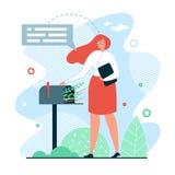 Illustrazione aspettante di vettore della posta dell'insegna piana illustrazione vettoriale