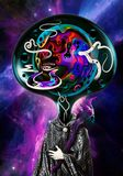 Illustrazione astratta artistica di uno straniero con la testa multicolore su un fondo variopinto della galassia della nebulosa illustrazione vettoriale