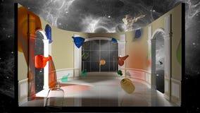 Illustrazione astratta - colorata imbottiglia una stanza vittoriana rappresentazione 3d illustrazione vettoriale
