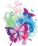Illustrazione astratta con farfalle Immagini Stock Libere da Diritti