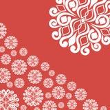 Illustrazione astratta con i fiocchi di neve su fondo rosso Immagini Stock Libere da Diritti