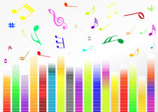 Illustrazione astratta con le barre del volume e la musica N Immagini Stock