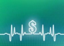 Illustrazione astratta del fondo di costo di sanità di elettrocardiogramma Immagini Stock Libere da Diritti