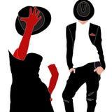 Illustrazione astratta dell'acquerello delle coppie in vestito nero, vestito Immagine Stock