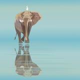 Illustrazione astratta dell'acquerello di grande elefante con il piccolo uccello bianco Fotografia Stock Libera da Diritti