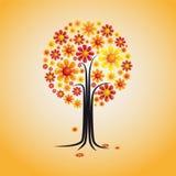 Illustrazione astratta dell'albero dell'annata con i fiori Fotografie Stock