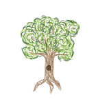 Illustrazione astratta dell'albero verde stilizzato Immagine Stock Libera da Diritti