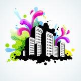 Illustrazione astratta della città Fotografie Stock