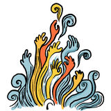 Illustrazione astratta della mano Fotografia Stock