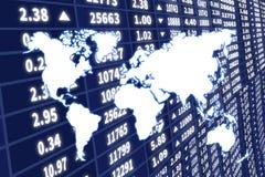 Illustrazione astratta della mappa di mondo sopra lo schermo dinamico del mercato azionario Immagine Stock
