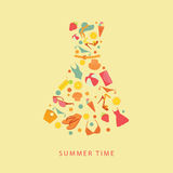 Illustrazione astratta delle icone piane e degli elementi di un vestito da estate Immagini Stock Libere da Diritti