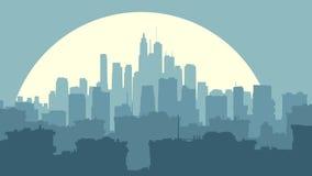 Illustrazione astratta di grande città alla notte con la luna illustrazione di stock