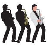 Illustrazione astratta di musica con il giocatore di sassofono Fotografia Stock Libera da Diritti