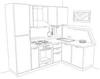 Illustrazione astratta di schizzo 3d dell'interno d'angolo moderno della cucina Fotografia Stock