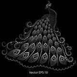 Illustrazione astratta di un pavone bianco su un fondo nero, quilling immagine stock libera da diritti
