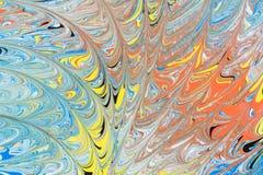 Illustrazione astratta di una combinazione di colori rossi, blu, gialli e neri su un modello basato e caotico bianco delle linee Fotografia Stock