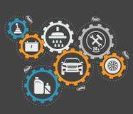 Illustrazione astratta di vettore della riparazione dell'automobile Fotografia Stock Libera da Diritti