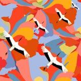 Illustrazione astratta di volata giapponese delle gru Fotografia Stock Libera da Diritti