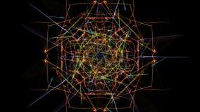 Illustrazione astratta Linee variopinte con le particelle su fondo nero illustrazione vettoriale