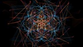 Illustrazione astratta Linee variopinte con le particelle su fondo nero illustrazione di stock
