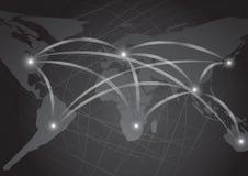 Illustrazione astratta scura del fondo della rete della mappa di mondo Fotografia Stock